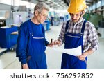 engineer teaching apprentices... | Shutterstock . vector #756292852