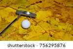 a golf ball and putter on the... | Shutterstock . vector #756295876