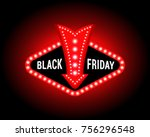black friday banner with neon...   Shutterstock .eps vector #756296548