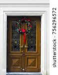 wooden door with christmas... | Shutterstock . vector #756296572