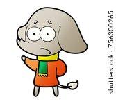 cartoon unsure elephant in scarf | Shutterstock .eps vector #756300265