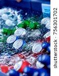 beer and soda bottles in the ice | Shutterstock . vector #756301702