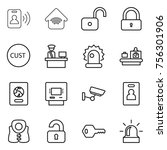 thin line icon set   pass card  ... | Shutterstock .eps vector #756301906