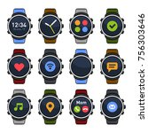 smart watch with different apps ... | Shutterstock .eps vector #756303646