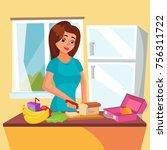 lunch box vector. woman making... | Shutterstock .eps vector #756311722