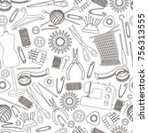 seamless pattern of tools for... | Shutterstock .eps vector #756313555