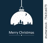 christmas ball with a christmas ... | Shutterstock .eps vector #756316075