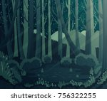 night forest landscape with... | Shutterstock .eps vector #756322255