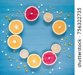 citrus and tablets frame on the ... | Shutterstock . vector #756322735