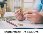 doctor audiologist holding... | Shutterstock . vector #756330295