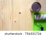 roller  bank with paint on the... | Shutterstock . vector #756331726