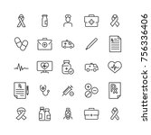 set of medical thin line icons. ... | Shutterstock .eps vector #756336406