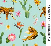seamless pattern with tigers ...   Shutterstock .eps vector #756338956
