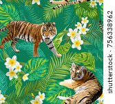 tigers in tropical flowers and... | Shutterstock .eps vector #756338962