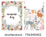 set of greeting cards with cute ... | Shutterstock .eps vector #756340402
