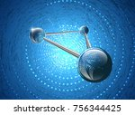 molecular structure on glowing...   Shutterstock .eps vector #756344425