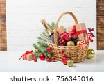 christmas basket with champagne ... | Shutterstock . vector #756345016