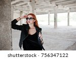 red haired stylish girl in... | Shutterstock . vector #756347122