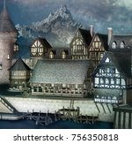 medieval fantasy town in a...   Shutterstock . vector #756350818