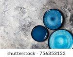 different ceramic empty blue... | Shutterstock . vector #756353122