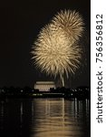 fourth of july fireworks in... | Shutterstock . vector #756356812