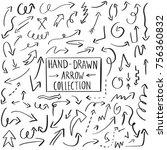 set of handdrawn arrow doodle... | Shutterstock .eps vector #756360832