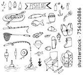 doodle fishing rods floats ... | Shutterstock .eps vector #756360886
