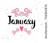 winter calendar seasonal text.... | Shutterstock . vector #756361876