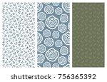 set of vector seamless floral... | Shutterstock .eps vector #756365392