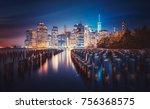 new york skyline at night | Shutterstock . vector #756368575