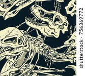 dinosaurs fossil seamless... | Shutterstock .eps vector #756369772