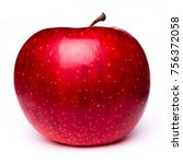 isolated red apple gala variety ... | Shutterstock . vector #756372058