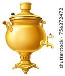 russian samovar. vector... | Shutterstock .eps vector #756372472