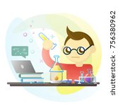 young kid in science class | Shutterstock .eps vector #756380962