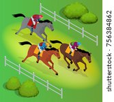 isometric galloping race horses