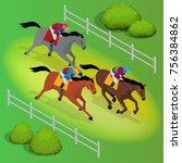 isometric galloping race horses ... | Shutterstock .eps vector #756384862