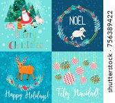 set of 4 vector christmas cards ... | Shutterstock .eps vector #756389422