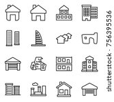 thin line icon set   home ... | Shutterstock .eps vector #756395536