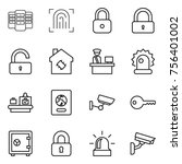 thin line icon set   server ... | Shutterstock .eps vector #756401002
