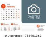 desk calendar for january 2018... | Shutterstock .eps vector #756401362