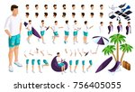 isometric set of creating your... | Shutterstock .eps vector #756405055