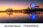 santa monica beach and pier in... | Shutterstock . vector #756405832