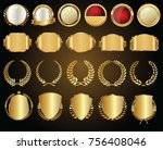 golden sale frame badge and... | Shutterstock .eps vector #756408046
