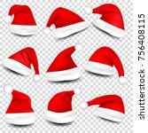 christmas santa claus hats with ... | Shutterstock .eps vector #756408115