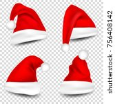 christmas santa claus hats with ... | Shutterstock .eps vector #756408142