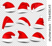 christmas santa claus hats with ... | Shutterstock .eps vector #756408145