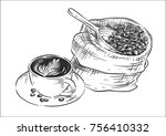 sack with coffee beans with... | Shutterstock .eps vector #756410332
