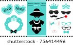 set of  photo booth printable... | Shutterstock .eps vector #756414496