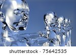 Glassy 3d cyborg men in perspective with open arms over blue background. - stock photo