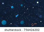 space flat background with... | Shutterstock .eps vector #756426202